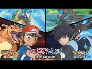 Pokemon Sun and Moon: Kalos Ash Vs Alain (Ash Charizard Vs Mega-Charizard X)
