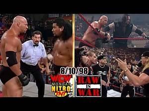 WCW Nitro vs. WWF RAW - August 10, 1998 Full Breakdown - Goldberg/Meng nWo Lumberjack - 4-CornersTag