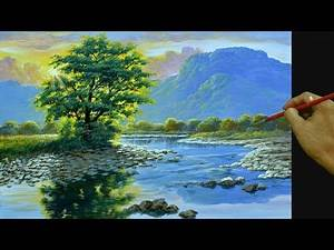 HOW TO PAINT Realistic Landscape with Sunlight shines on the River in Acrylics