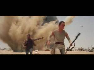 Finn and Rae escape from stormtroopers Star Wars: Force Awakens scene by J. J. Abrams 2015