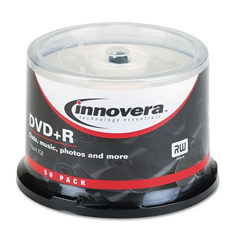 ** DVD+R Discs, 4.7GB, 16x, Spindle, Silver, 50/Pack