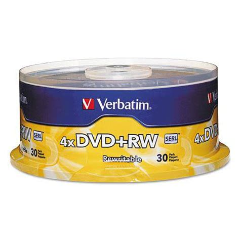 ** DVD+RW Discs, 4.7GB, 4x, Spindle, 30/Pack **