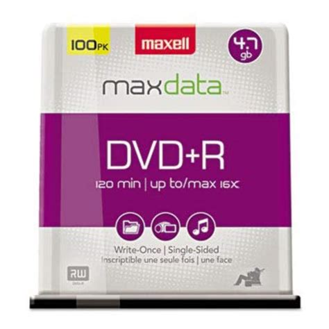 ** DVD-R Discs, 4.7GB, 16x, Spindle, Silver, 100/Pack