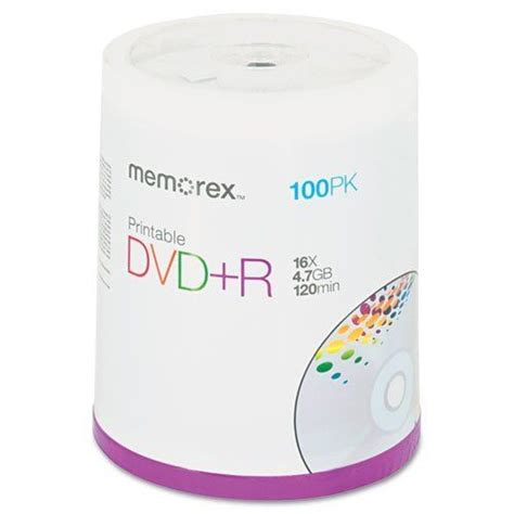 ** Inkjet Printable DVD+R Discs, 4.7GB, 16x, Spindle, Matte White, 100/Pack **