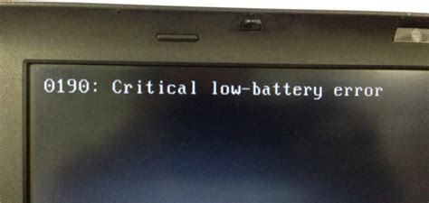 0190 Critical Low Battery Error Fix