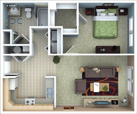 1 Bed Apartment Floor Plans