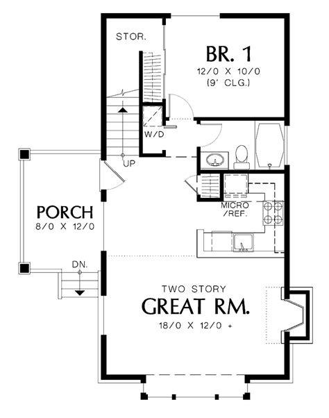 1 Bedroom Loft House Plans