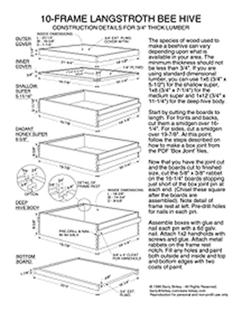 10 Frame Bee Hive Box Plans