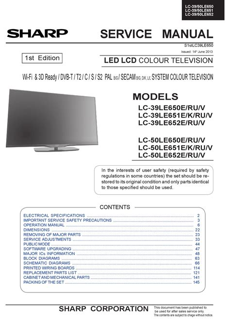 100 sharp tv pdf manual