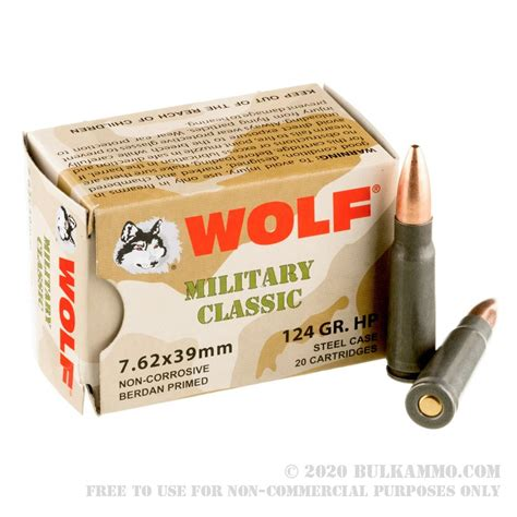 1000 Rounds Of 7 62x39mm Ammo By Wolf WPA Military Classic