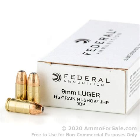 1000 Rounds Of 9mm Ammo By Federal 115gr Jhp