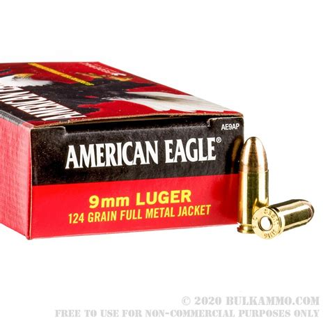1000 Rounds Of 9mm Ammo By Federal American Eagle 124gr Fmj