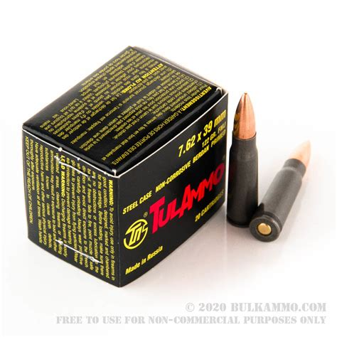 1000 Rounds Of Bulk 7 62x39mm Ammo By Tula 122gr Fmj