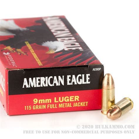1000 Rounds Of Bulk 9mm Ammo By Federal American Eagle