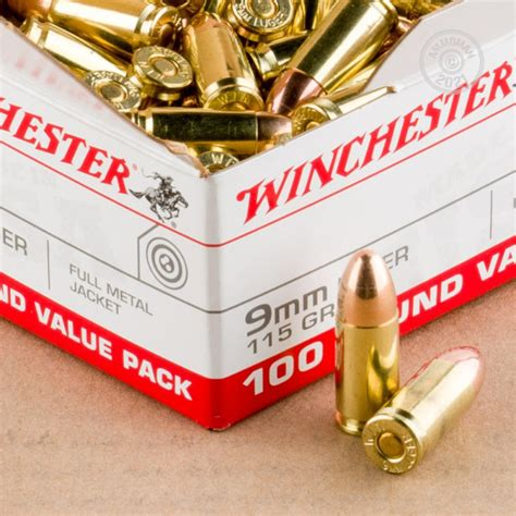 1000 Rounds Of Bulk 9mm Ammo By Winchester - 115gr FMJ