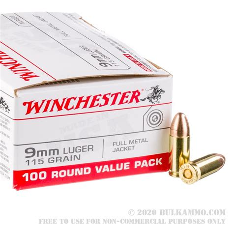1000 Rounds Of Bulk 9mm Ammo By Winchester 115gr Fmj