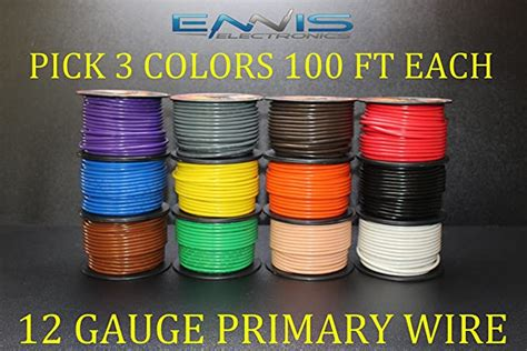12 GAUGE WIRE ENNIS ELECTRONICS PICK 5 COLORS 100 FT SPOOLS PRIMARY REMOTE HOOK UP AWG COPPER CLAD (PICK 5 ROLLS)