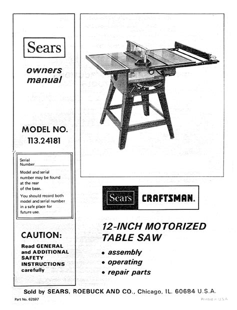 12 inch table saw pdf manual