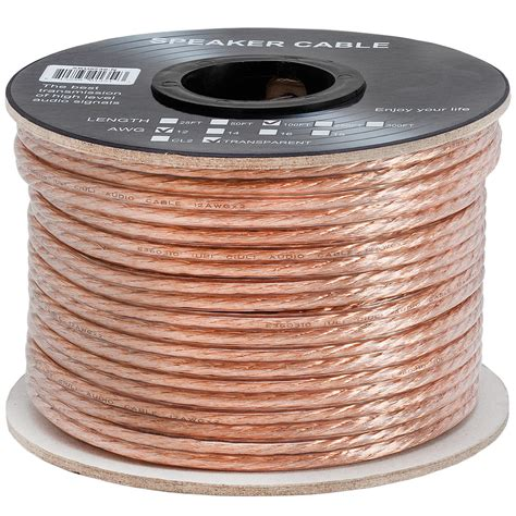 12AWG Clear Jacket Compact Speaker Cable - 100ft