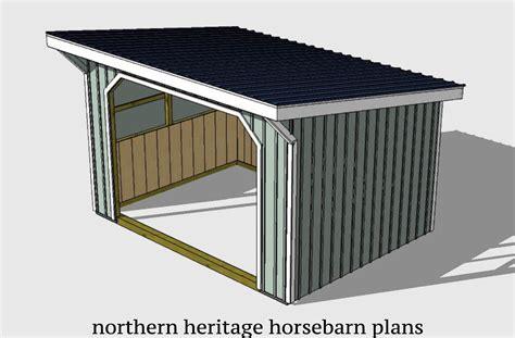 12x16-Run-In-Horse-Barn-Plans