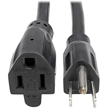 15ft Power Extension Cord, Black, 125V/10A ( 2 PACK ) BY NETCNA