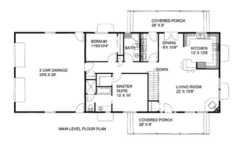 2 Bedroom 2 Bath 1500 Square Foot House Plans