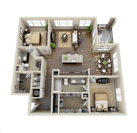 2 Bedroom Apartment Plans 3d