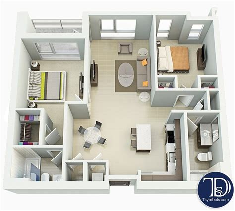 2-Bedroom-Floor-Plan-With-Furniture