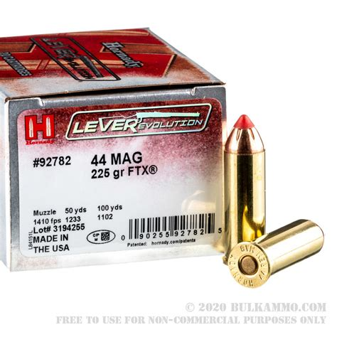 20 Rounds Of Bulk 44 Mag Ammo By Hornady - 225gr FTX