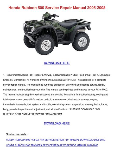 2005 honda rubicon 500 pdf manual