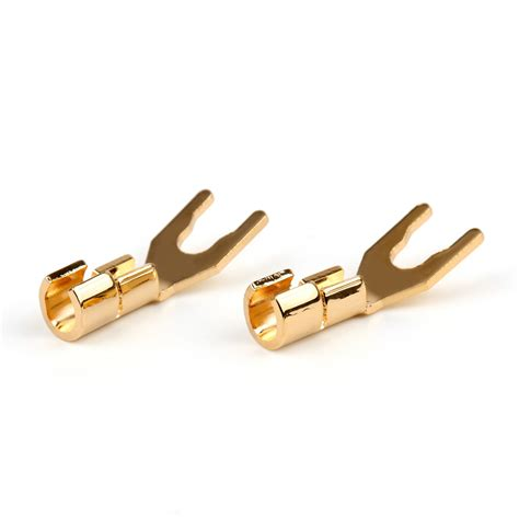 20pcs Copper Speaker Cable Spade Connector Terminal Plug Gold plated