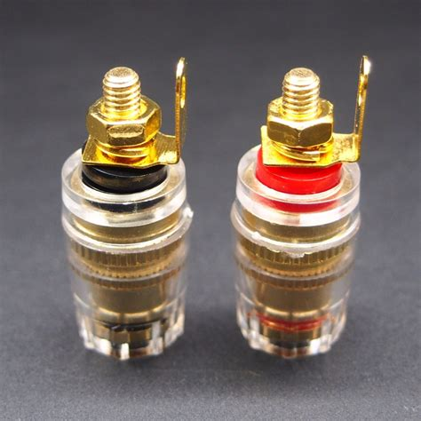 20pcs copper Gold Plated Speaker Binding Post Terminal Socket Cable 4mm