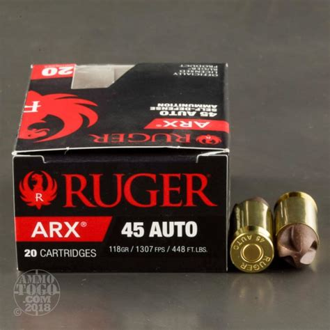 20rds 45 Acp Ruger Polycase 118gr Arx Ammo