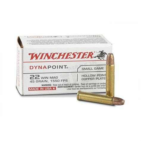 22 Magnum Winchester Dynapoint 45 Grain Hollow Point Ammo Usa22m