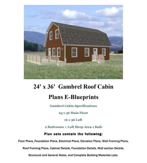 24 X 36 Gambrel Roof Cabin Plans With A Loft