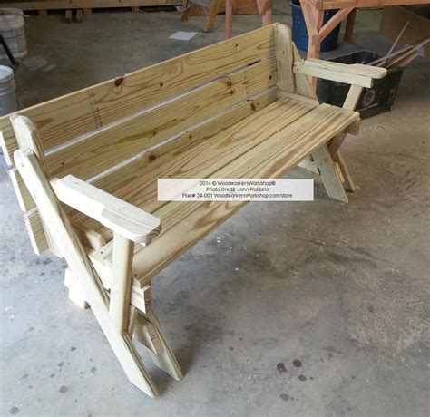 24-001 Folding Bench And Picnic Table Combo Pdf Woodworking Plan