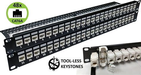 24-Port CAT6A Unshielded 1U Patch Panel 19-Inch Loaded w/ Tool-less Keystone Jacks Rackmount or Wallmount
