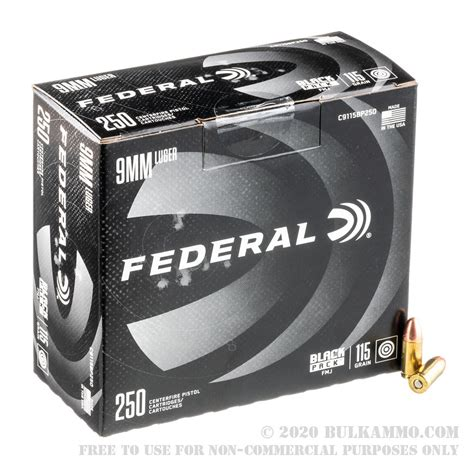 250 Rounds Federal 9mm