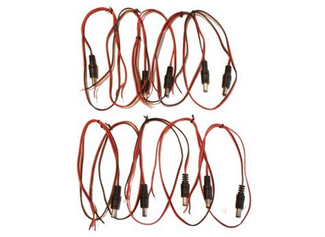 2ft DC Power Socket to Bare Wire, DC Female to Open End ( 10 PACK ) BY NETCNA