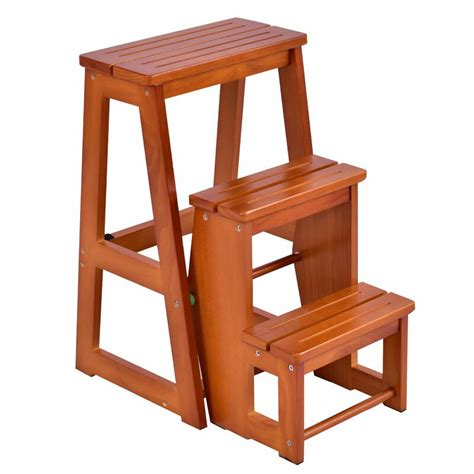 3 Step Folding Wooden Step Stool