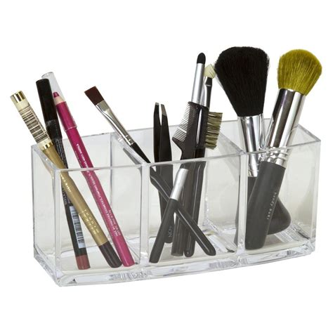 3 Compartment Cosmetic Brush Pencil Holder