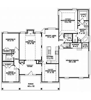3 Bed Room One Story House Plans