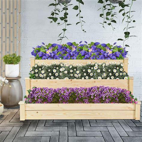 3 raised flower boxes Image