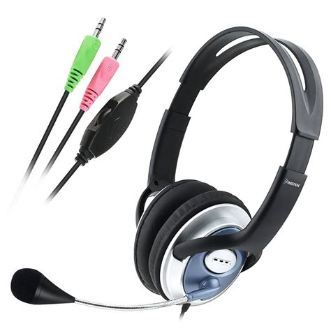 3.5mm Stereo Headset Headphones And Microphone Mic - Adjustable - VOIP - Skype
