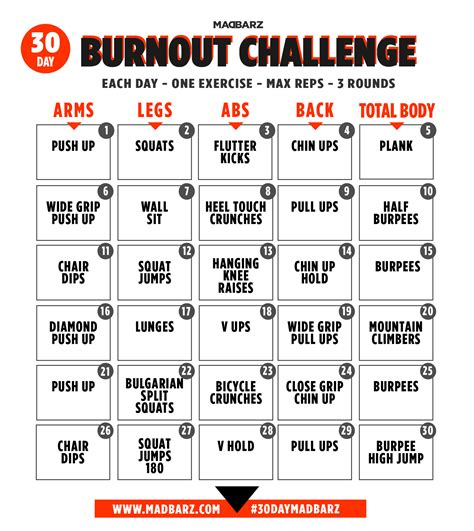 30 Day Home Workout Challenges