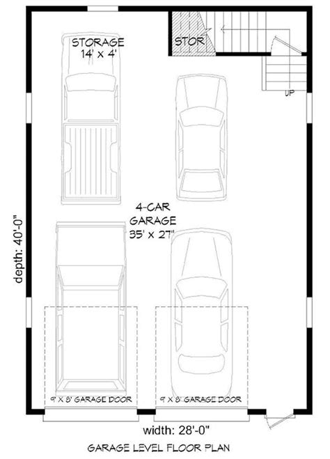 4 Car Tandem Garage Floor Plans