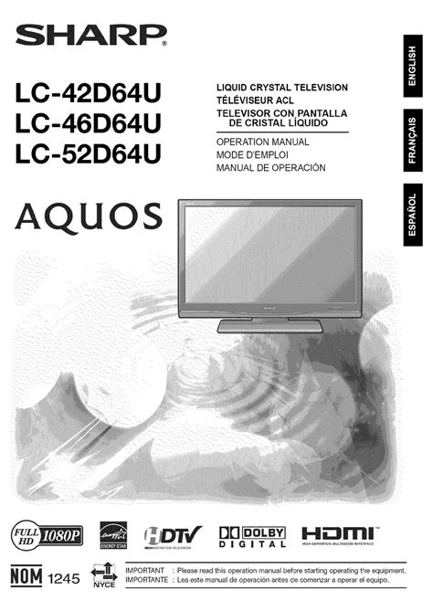 42 sharp aquos flat screen tv model lc 42d64u pdf manual