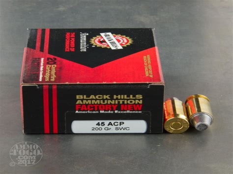 45 ACP Black Hills New Factory 200gr SWC Ammo - Ammunition