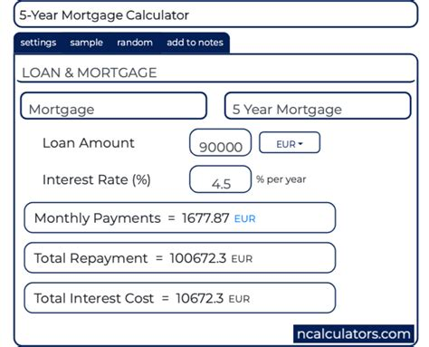5 Year Loan Calculator