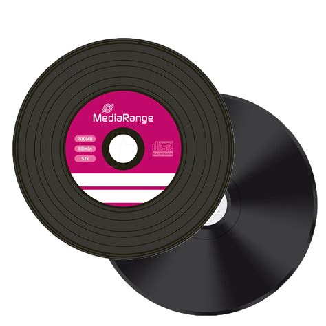 50 x Mediarange Black Bottom Vinyl CD-R blank discs White Printable 52x 700MB